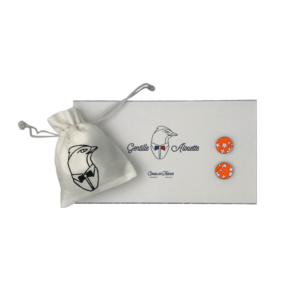 boutons de manchette orange liberty packaging gentille alouette