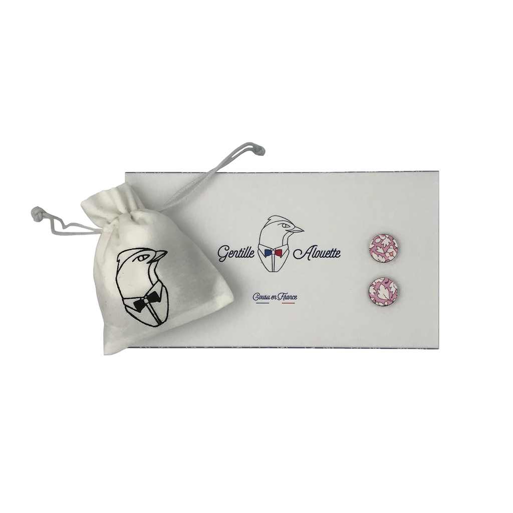 boutons de manchette feather fields rose liberty packaging gentille alouette