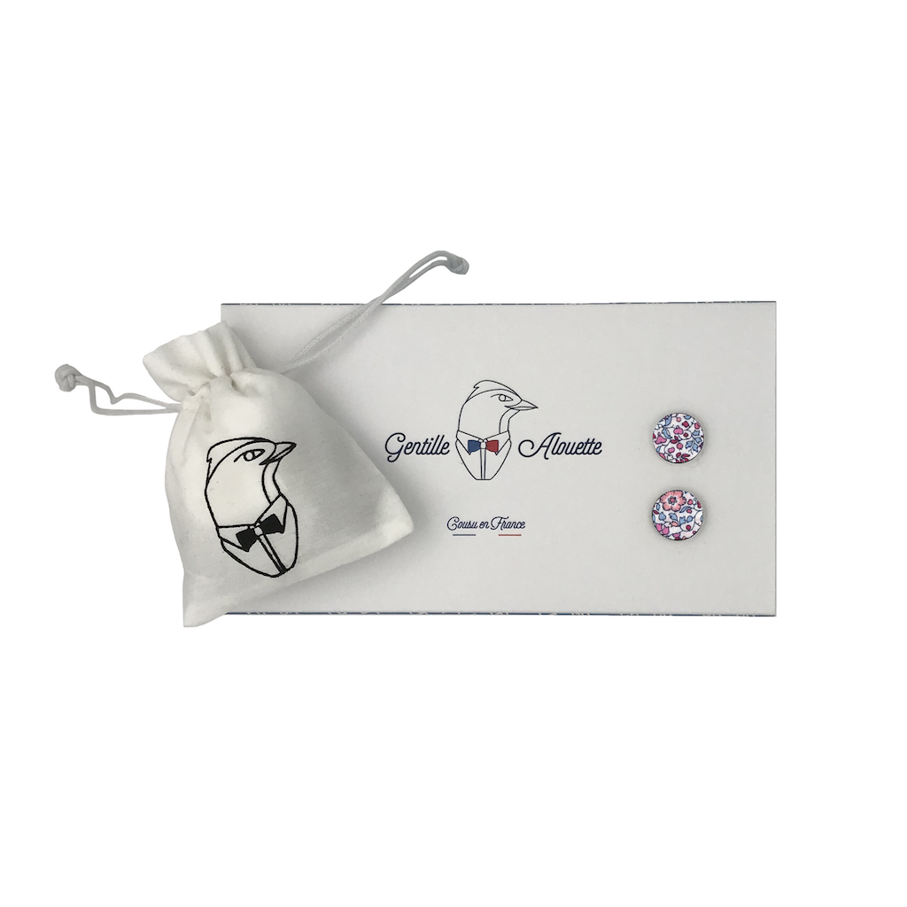 boutons de manchette katie and millie fuchsia liberty packaging gentille alouette