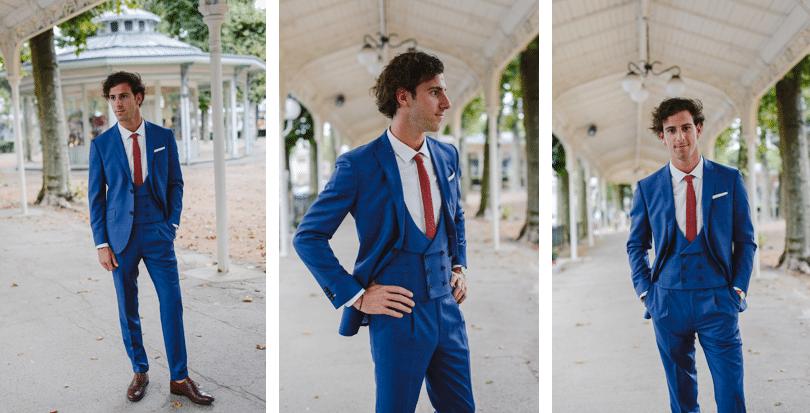 costume 3 pièce cravate flanelle bordeaux
