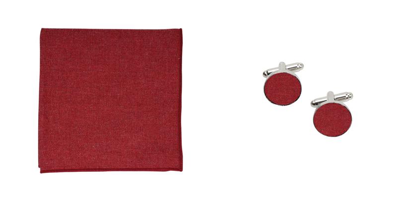 pochette de costume et boutons de manchette en flanelle bordeaux
