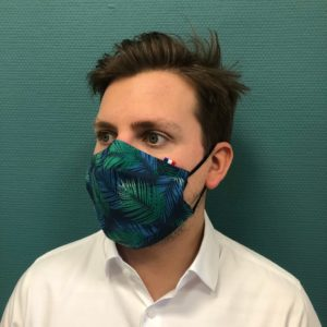 masque barriere tropical bleu vert
