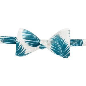 noeud papillon tropical vert-blanc