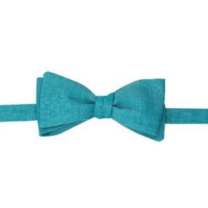 noeud papillon chambray bleu canard