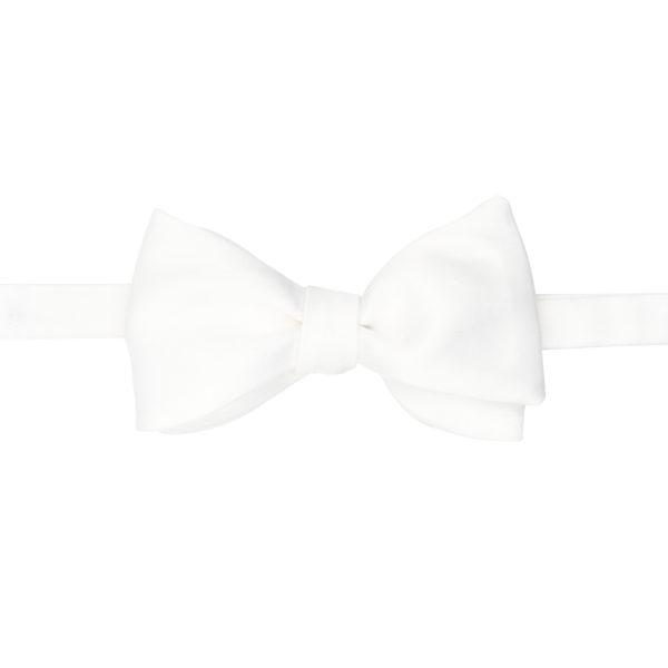 noeud papillon uni soie blanc