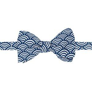 noeud papillon à vagues japonaises bleu navy